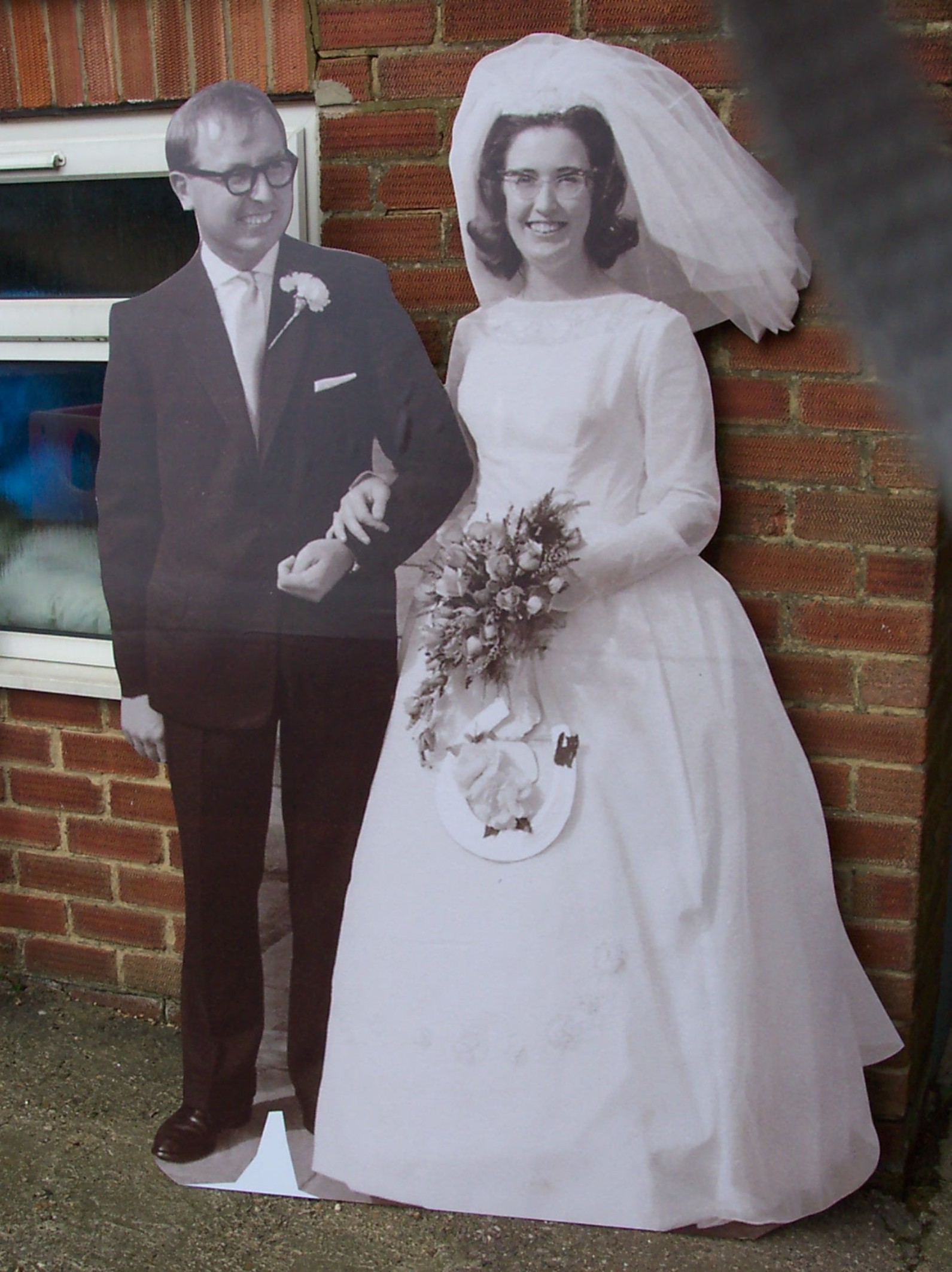 old photo wedding cardboard cutout